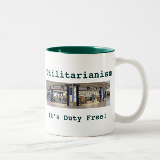 Utilitarianism green 2-tone mug (left-hand)