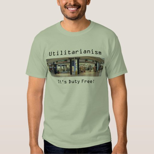 Utilitarianism: It's Duty Free! stone green shirt