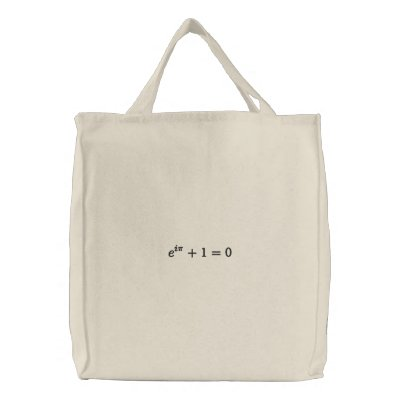 Utility bag: Euler's identity embroidered, large, Embroidered Tote Bag
