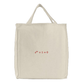 Utility bag: Euler's identity large Embroidered Tote Bag
