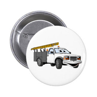 Utility Pick Up Truck Grey White Cartoon Button