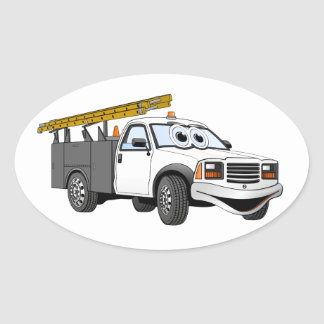 Utility Pick Up Truck Grey White Cartoon Oval Sticker