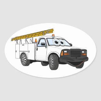 Utility Pick Up White Cartoon Oval Sticker