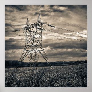 Utility Pole in Field Print