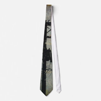 Utility Pole - Telephone Pole in taupe gray black Neck Tie