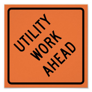 Utility Work Ahead Construction Highway Sign