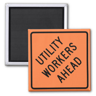 Utility Workers Ahead Construction Highway Sign 2 Inch Square Magnet
