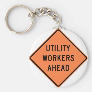 Utility Workers Ahead Construction Highway Sign Basic Round Button Keychain