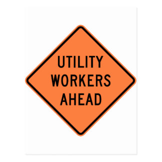 Utility Workers Ahead Construction Highway Sign Postcard