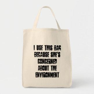 Utilizo este bolso porque ella ha tratado bolsa tela para la compra
