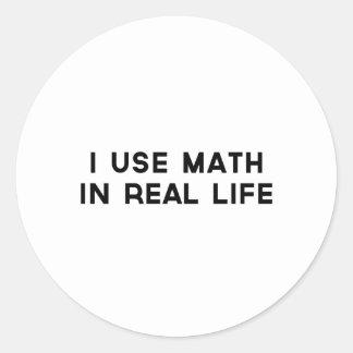 Utilizo matemáticas en vida real pegatina redonda