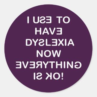 Utilizo para tener dislexia pegatina redonda