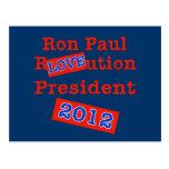 ¡Ution del AMOR de Ron Paul R! ¡Revolución 2012! Postal