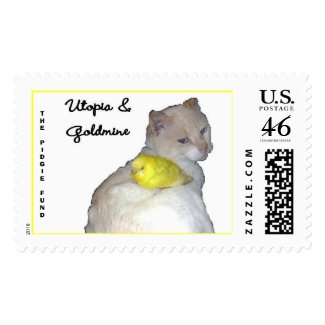 Utopia and Goldmine cutout, THE PIDGIE FUND stamp