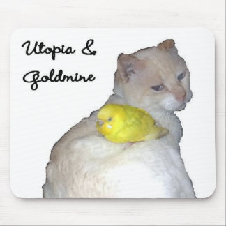 Utopia and His Pet Budgie Goldmine Mouse Pad