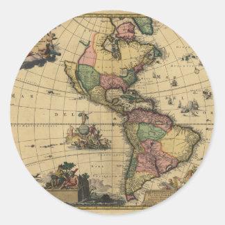 Utramque de Americam - norte y mapa de Suramérica Pegatina Redonda