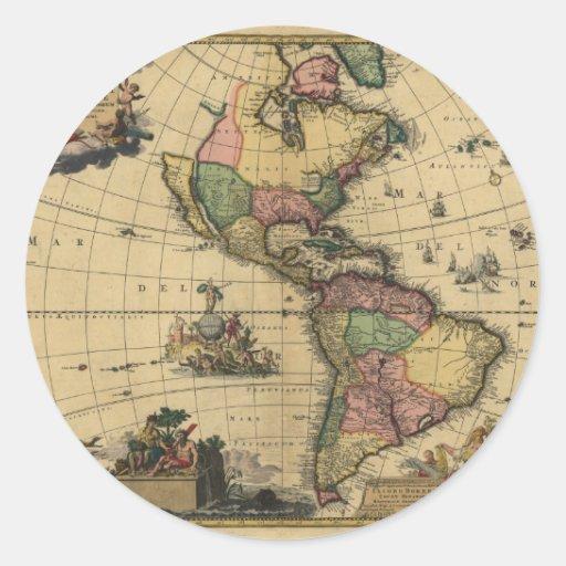 Utramque de Americam - norte y mapa de Suramérica Etiqueta Redonda
