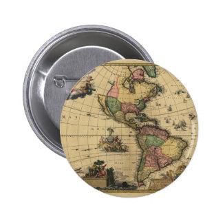 Utramque de Americam - norte y mapa de Suramérica Pin Redondo 5 Cm