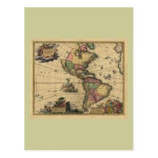 Utramque de Americam - norte y mapa de Suramérica Postales