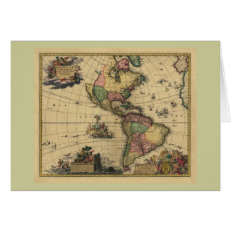 Utramque de Americam - norte y mapa de Suramérica Tarjeta De Felicitación