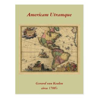 Utramque de Americam - norte y mapa de Suramérica Tarjeta Postal