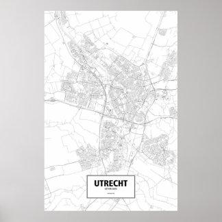 Utrecht, Netherlands (black on white) Poster