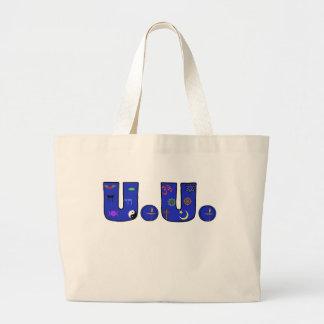 UU Blue Religious Symbols Jumbo Tote Bag