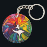 """UU Chalice Round KeyChain Unitarian Universalist<br><div class=""""desc"""">Featuring original rainbow stain-glass UU Chalice art! Go in peace,  Believe in peace,  Create peace! A great gift for the Unitarian Universalist in your life.</div>"""