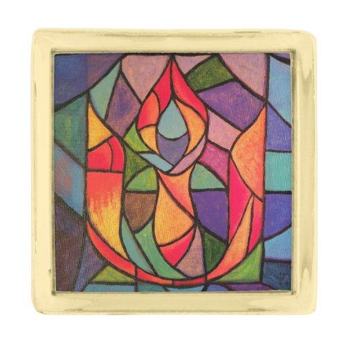 UU Flaming Chalice Original Artwork Pin