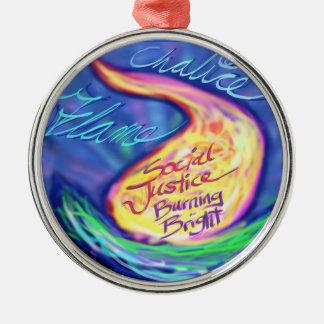UU Flaming Chalice Round Metal Christmas Ornament