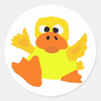 UU- Funny Duck Bigfoot Art Cartoon Round Stickers