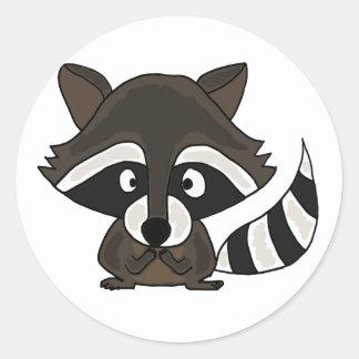 UU- Funny Raccoon Cartoon Art Classic Round Sticker