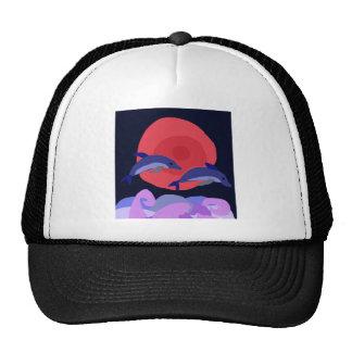 UU- Graceful Leaping Dolphins Primitive Art Hat