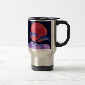 UU- Graceful Leaping Dolphins Primitive Art 15 Oz Stainless Steel Travel Mug