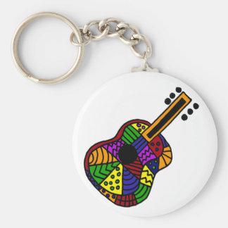 UV- Colorful Folk Art Guitar Design Keychains