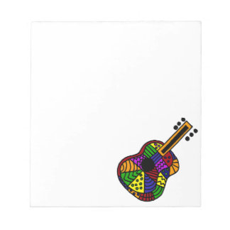 UV- Colorful Folk Art Guitar Design Memo Pad