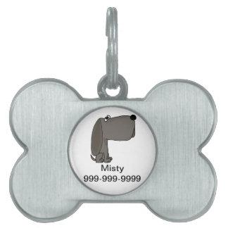 UV- Funky Grey Puppy Dog Cartoon Pet ID Tag