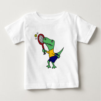 UV- Funny T-Rex Dinosaur Playing Tennis Cartoon Baby T-Shirt