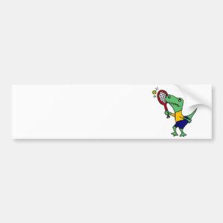 UV- Funny T-Rex Dinosaur Playing Tennis Cartoon Bumper Sticker