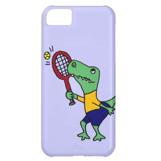 UV- Funny T-Rex Dinosaur Playing Tennis Cartoon iPhone 5C Cases