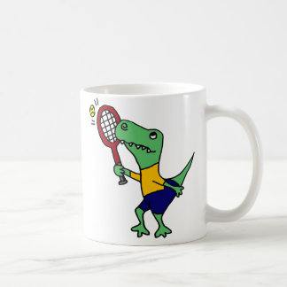 UV- Funny T-Rex Dinosaur Playing Tennis Cartoon Coffee Mug