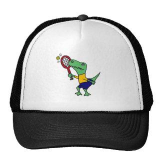 UV- Funny T-Rex Dinosaur Playing Tennis Cartoon Trucker Hats