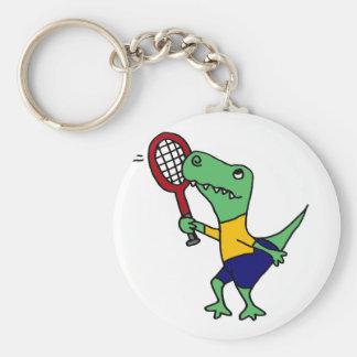 UV- Funny T-Rex Dinosaur Playing Tennis Cartoon Key Chain