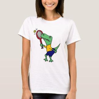 UV- Funny T-Rex Dinosaur Playing Tennis Cartoon T-Shirt