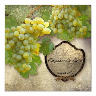"""Uvas de Chardonnay del país vinícola de la cena Invitación 5.25"""" X 5.25"""""""