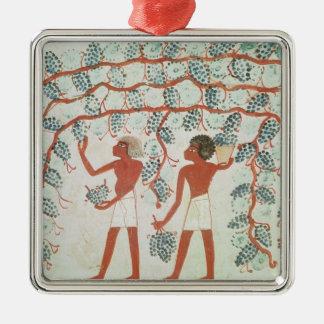 Uvas de la cosecha, de la tumba de Nakht Adorno Cuadrado Plateado