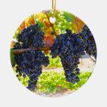 Uvas de vino adorno navideño redondo de cerámica