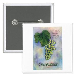 Uvas de vino de Chardonnay y botón de la descripci Pin