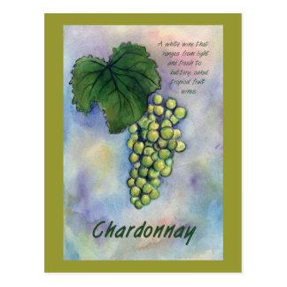 Uvas de vino de Chardonnay y postal de la