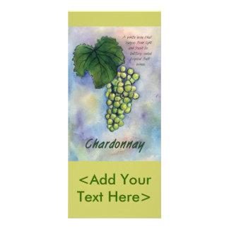 Uvas de vino de Chardonnay y tarjeta del estante d Lona Publicitaria